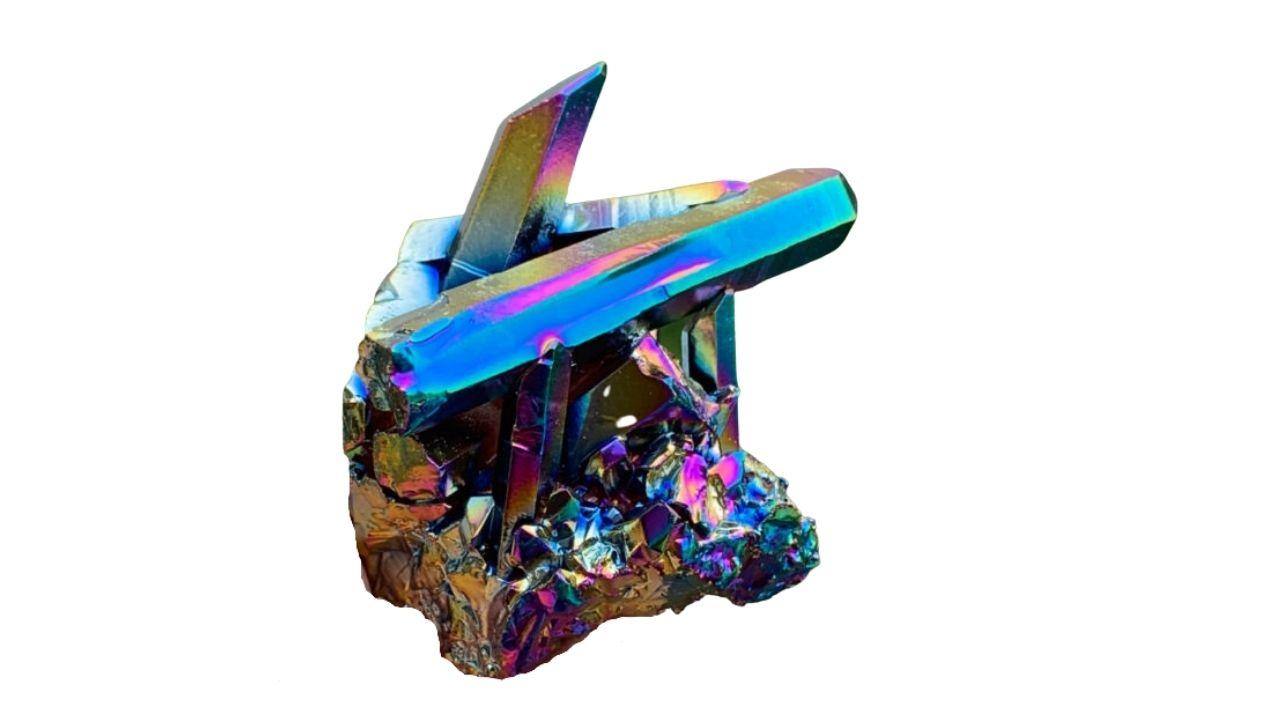 Rainbow TItanium Aura Crystal Metaphysical and Healing Properties